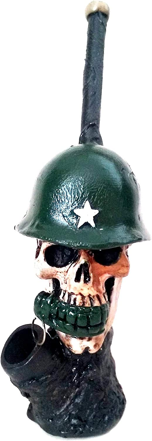 Novelty Outlet SALE Collectibe WWII Skull Pipe Spasm price Figurine Tobacco