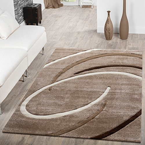 T&T Design Kurzflor Wohnzimmer Teppich Modern Ebro mit Spiralen Muster Beige Braun Mocca, Größe:80x150 cm