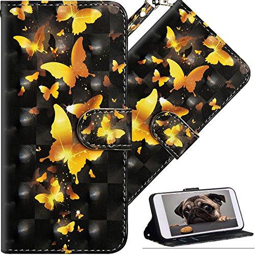 COTDINFOR Motorola Moto E4 Plus Hülle Geschenk Lederhülle 3D-Effekt Kartenfächer Schutzhülle Protective Handy Tasche Schale Standfunktion Etui für Moto E4 Plus (EU Version) Golden Butterflies YX.