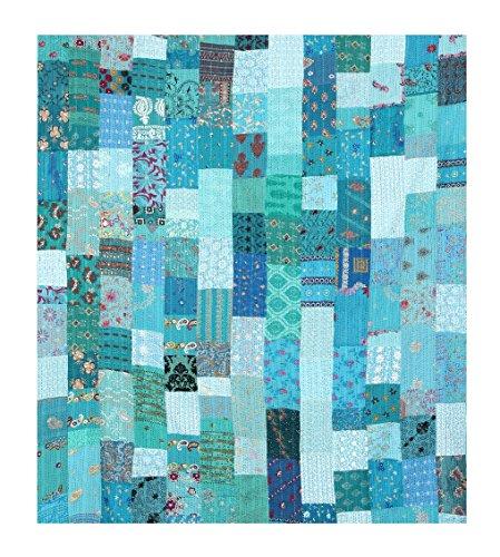 Tribal Asian Textiles – Couvre-lit Kantha en patchwork matelassé style vintage/indien/bohémien, fabriqué à la main