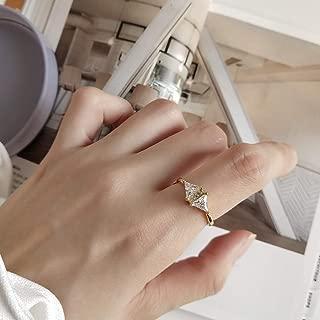 Mymegoc The Korean Women Triangular Zircon Ring Adjustable Ring