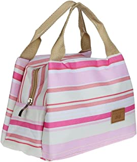 Tinksky lunch bag Lunch Box Thermal Insulated Tote Cooler Zipper Bag Stripe Lunch Pouch, gift for women