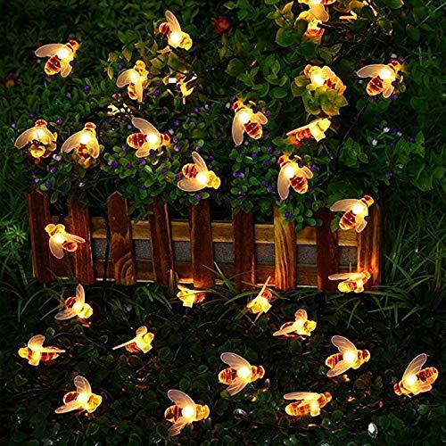 Solar Lichterkette Aussen, Led Solar Bienen Lichterketten, wasserdichte Solar Biene lichterketten deko Beleuchtung, Aussen Solar Lichterkette für Garten, Hochzeit, Party (7M (50 LEDs))