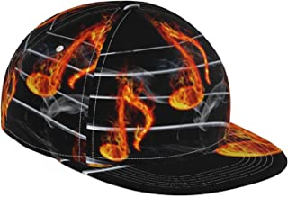 GCDD Flat Bill basebollkeps 3D brinnande musik not rök justerbar snapback platt brätte kepsar sport pappa hatt lastbilsför...