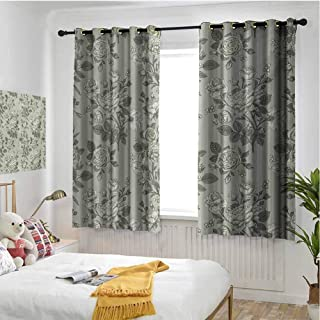 Grey 100% Blackout Lining Curtain Bamboo Tree Leaves Sketchy Zen Based Spiritual Reflective Japanese Nature Graphic Art Full Shading Treatment Kitchen Insulation Curtain W55 x L72 Inch Sage Green