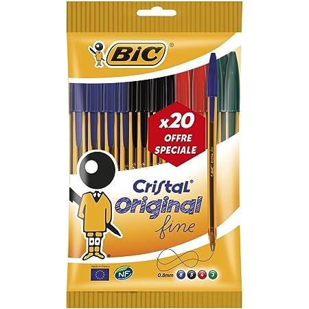 BIC Cristal Original Stylos-Bille Pointe Fine (0,8 mm) - Couleurs Assorties, Pochette Format Spécial de 20
