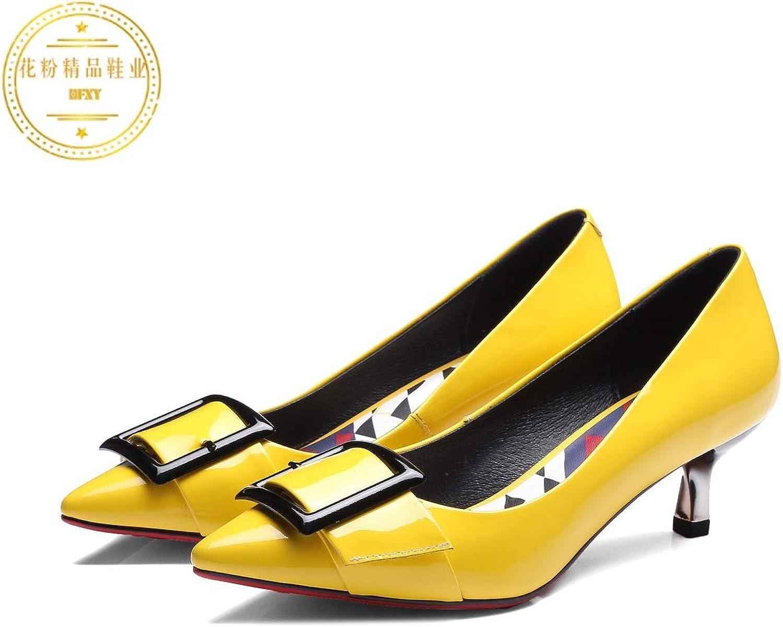 HOESCZS Frauen Schuhe Herbst Frauen Schuhe Leder Leder High High Heel Fashion überzug Mit Thin High Heel Metallspitze  großer Rabatt