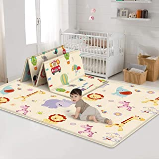 Baby Folding Crawling Mat, Kids Play Mat Soft Foam Rug Carpet, Reversible Double Sides Waterproof Portable Mats Cute Carto...