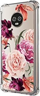 Moto G6 Case,Moto G6 Case with Flower,LUOLNH Slim Shockproof Clear Floral Pattern Soft Flexible TPU Back Cover for Motorola Moto G6 (Purple)