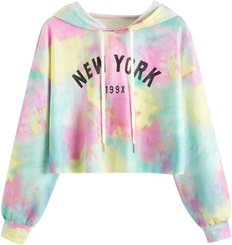 Mail order Jchen Women Cash special price Tie Dye Print Slee Hooded Long Sweatshirt Drawstring