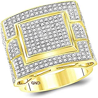 Jewels By Lux 10kt Yellow Gold Mens Round Diamond Square Cluster Ring 1.00 Cttw In Pave Setting (I2 clarity; I-J color)