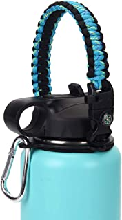 X-CWLTEZ Paracord Handle for Wide Mouth Water Bottles(12oz-64oz), Durable Survival Strap Carrier Cord with Safety Ring,Carabiner,Fire Starter,Compass and Whistle fits Hydro Flask & Other Brand