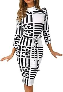 فستان متوسط الطول للنساء ضيق بودي كون مخطط اسود اللون مدرج ثلاثة ارباع كم قبة عالية مستديرة مناسب للمكتب ومناسبات الكاجوال