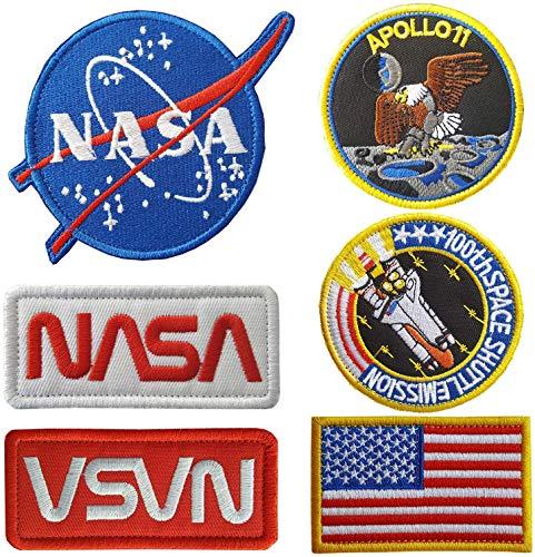 Parches de la NASA, 6 piezas, parches bordados para planchar o coser, bandera de Estados Unidos (hierro y transferencia de calor en el reverso)