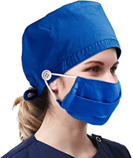 Adjustable Doctor Nurse Scrub Cap Unisex Surgical Scrub Hat Surgery Hat with Sweatband for Women/Men One Size Solid Color