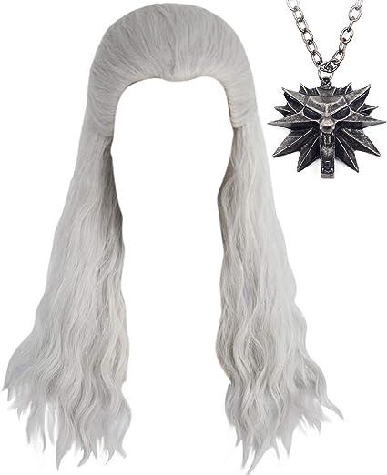 Anogol Hair Cap+{ 1 Necklace } Silver White Wigs Men Long Curly Silver White Wigs for Comic Con wigs with Necklace