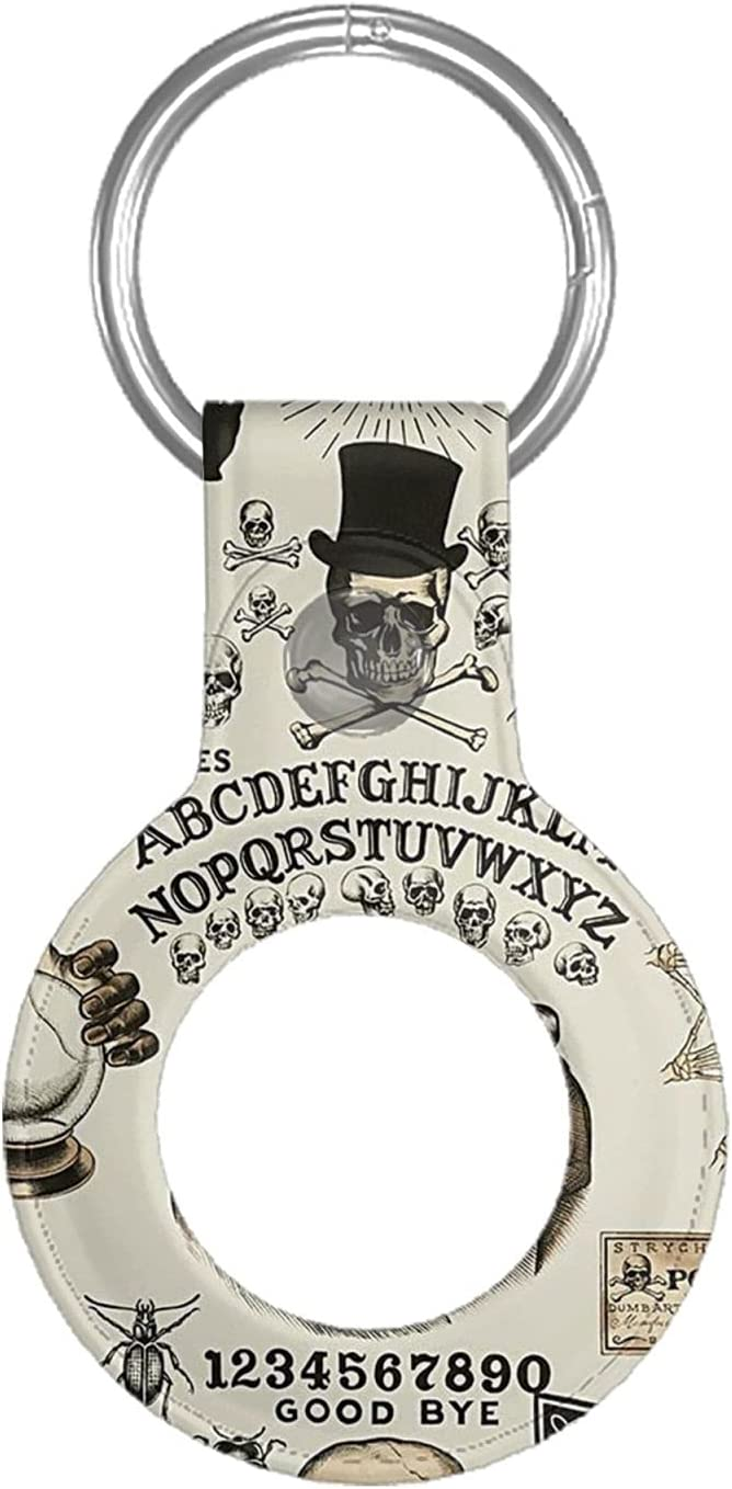 Halloween Trick Or Treat Ouija Board Skulls Crossbones Leather Case for Apple Airtag Tracke Keychain Compatible with Air Tag Holder Finder