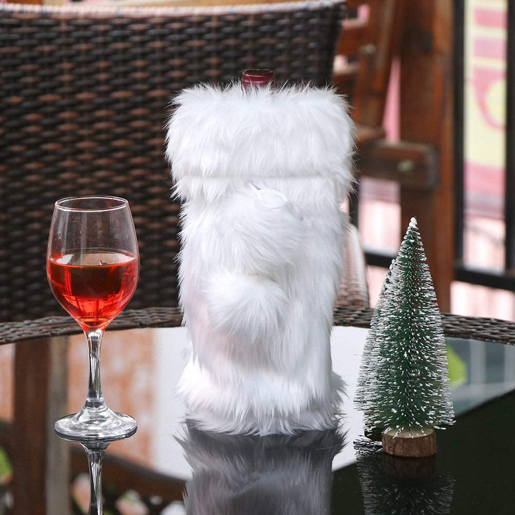 Winter Snowy White Table Runner for White Christmas Holiday Table Decoration AerWo Faux Fur Christmas Table Runner