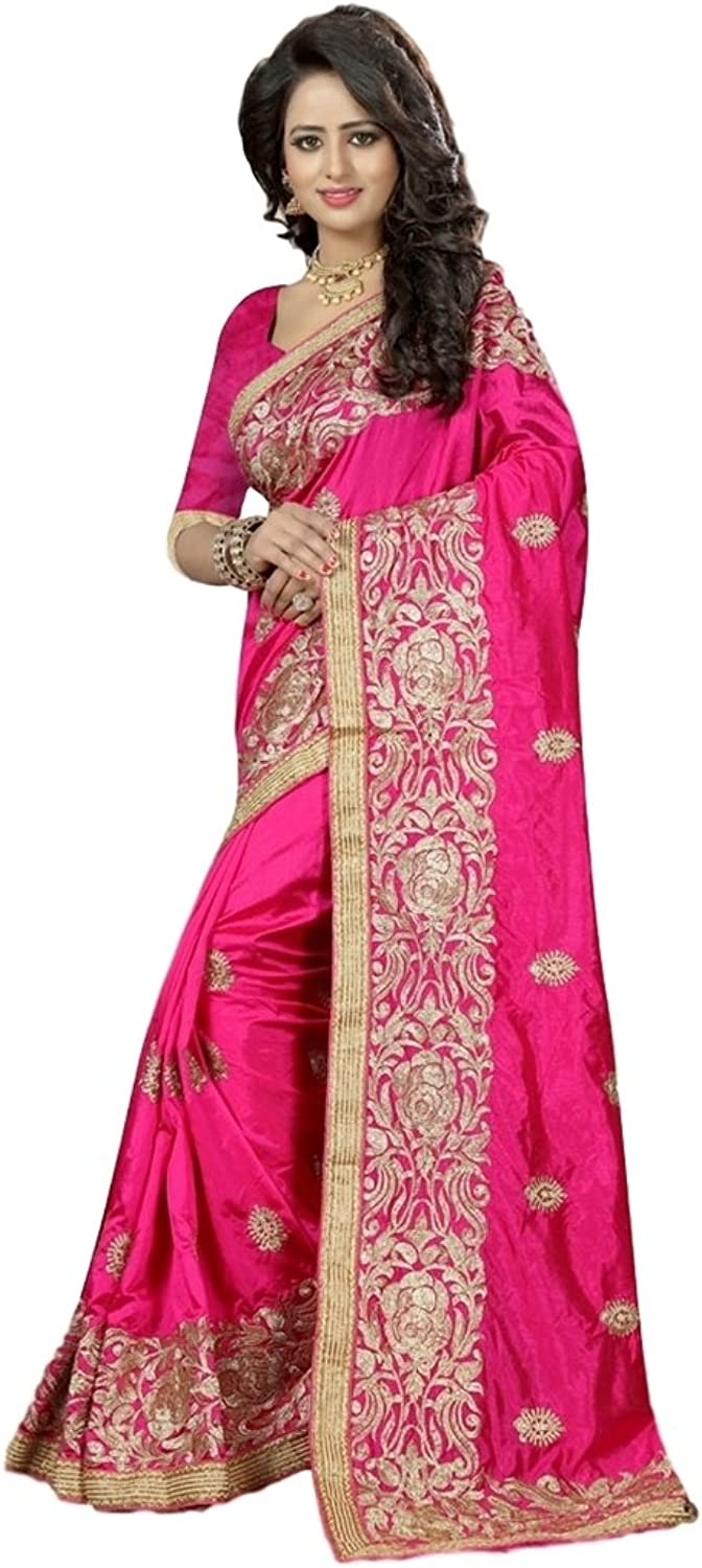 EthnicWear New Latest Beautiful Pink Art Silk Elegant Embroidered Resham Lace Saris Saree Designs for Reception Festival Wear