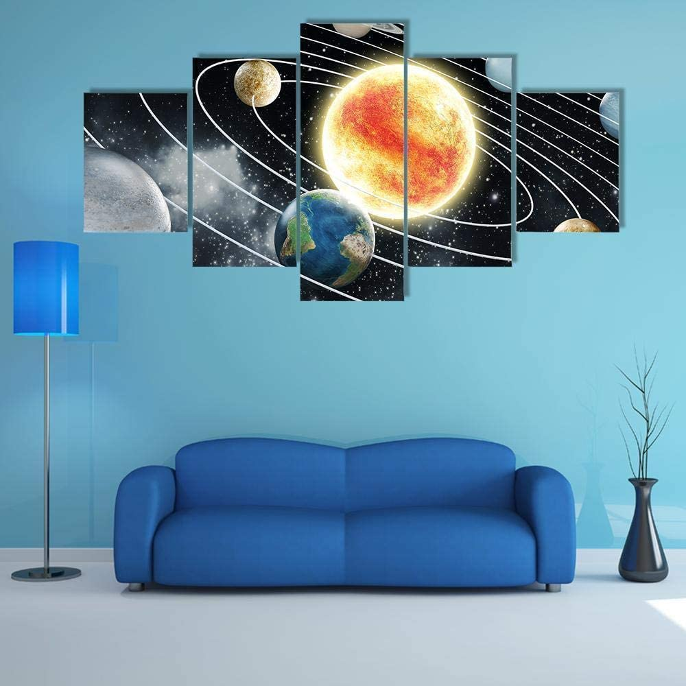 DFHDF 5 Paintings Wall Art Piece Canvas Easy-to-use Ar half hd Multi Panel