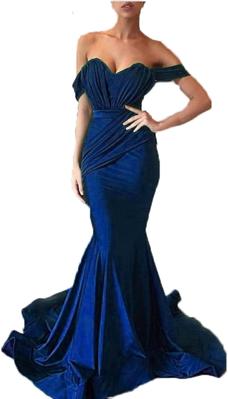 Graceprom Women's Satin Backless Mermaid Prom Dress Long Evening Dress