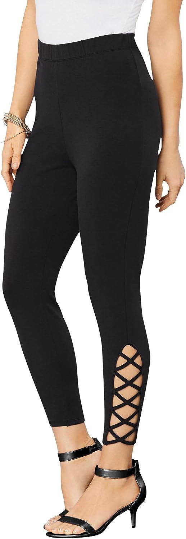 Roamans Women's Plus Size Lattice Essential Stretch Capri Legging Activewear Workout Yoga Pants