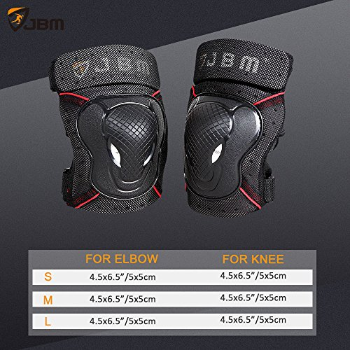 JBM Adult BMX Bike Knee Pads and Elbow P   ads with Wrist Guards Protective Gear Set for Biking, Riding, Cycling and Multi Sports: Scooter, Skateboard, Bicycle, Rollerblades (Black, Adult)
