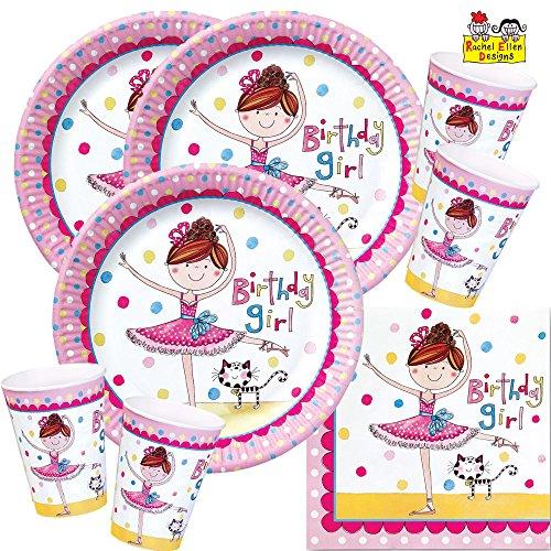 52-teiliges Party-Set Rachel Ellen Kleine Ballerina - Teller Becher Servietten für 16 Kinder