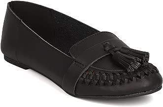 Qupid Women Leatherette Tasseled Weaved Slip On Loafer FG01