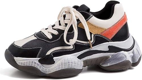 XLY mujeres Moda Cuero papá plataforma Chunky Hauszapatos, Alta plataforma de Moda Casual zapatos de Senderismo,negro,36