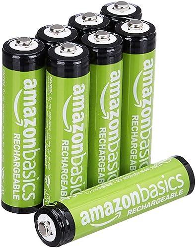 Amazon Basics Piles rechargeables AAA, pré-chargées - Lot de 8 (le visuel peut différer)
