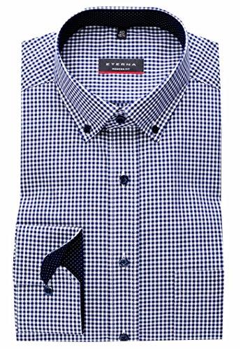 eterna Hemd Modern Fit Button-Down-Kragen Patch 4176/19 X 145, Blau Weiß, 44