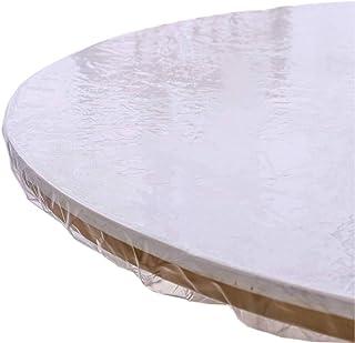 HUANXA Clair Rond Nappe pour 26-71in Table Ronde, Imperméable Vinyle Nappe De Table Bord élastique Antidérapant Protecteur...