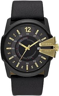 Men's Master Chief Stainless Steel Quartz Watch with Leather Strap, Black, 30 (Model: DZ1475)