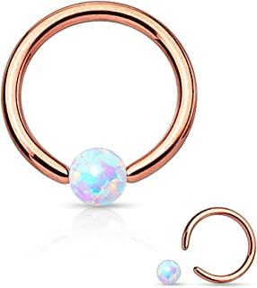 WildKlass Jewelry Opal Captive Bead Synthetic 316L Surgical Steel Ring (16g 5/16