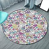 Alfombra redonda para sala de estar y comedor de 3 pies de 3 pulgadas, multicolor, símbolos retro de la paz de los sesenta y la paz mágica, setas y corazones de música hippie (redondo 100 cm x 100 cm)