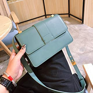 Fashion Ms. European and American Style PU Bag/Shoulder Bag/Solid Color Small Square Metal Package (Color : Green)