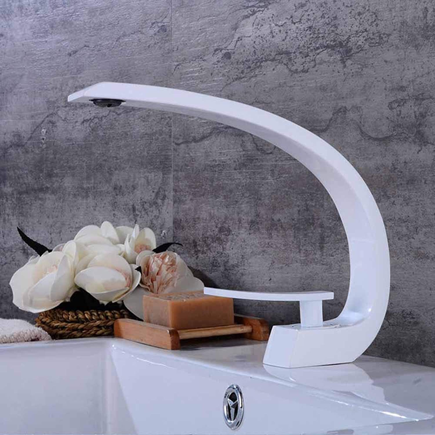 JYTNB Modern Bathroom Counter Basin Faucet, Paint Process Lead Free Solid Brass Single Lever One Hole Deck Mount Hot Cold Mixer Sink Faucet Washbasin Lavatory Washroom Bathroom Sink Tap