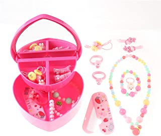 Betykuku Fun Little Toys Toddler Jewelry for Girls, Kids Jewelry Set Play Necklace with one double layer make up box Dress Up Necklaces for Party Favors, Classroom Prizes.