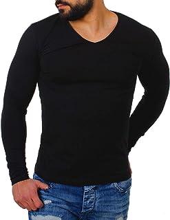Herren Langarmshirts,Frashing Mens Solid V-Ausschnitt Langarm Top Bluse Herren Longsleeve Tiefer V-Ausschnitt Langarm Shirt Einfarbig Slimfit mit Stretchanteilen Uni Basic Deep V-Neck Tee
