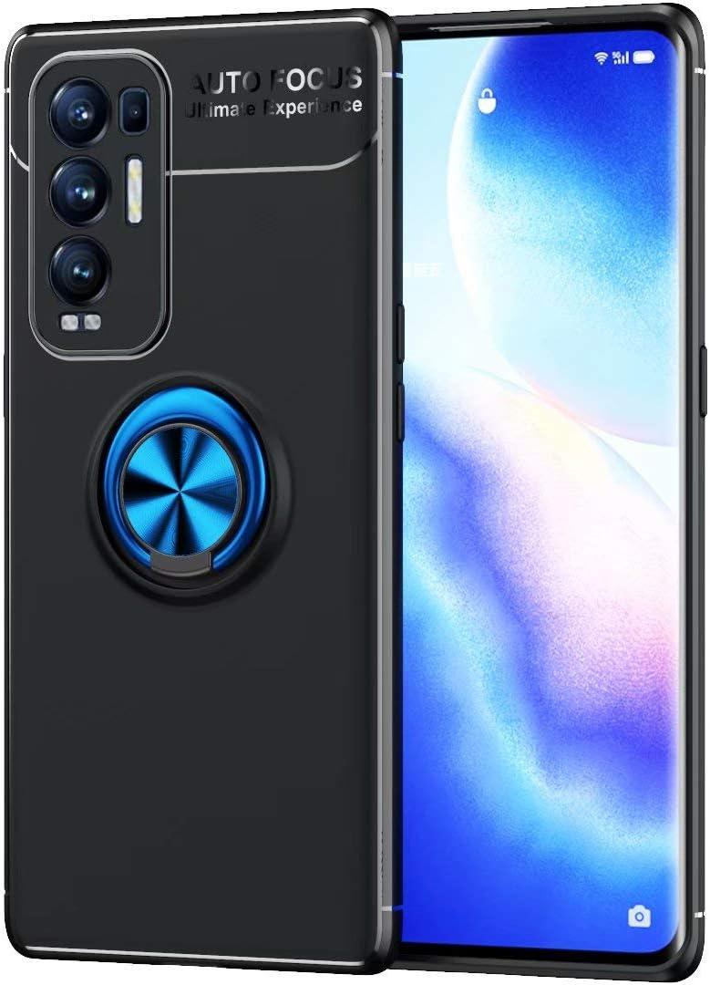 جراب BAIDIYU لهاتف Huawei nova 8i، غطاء واقي من الصدمات من السيليكون الناعم، حامل حلقي معدني يدور 360 درجة (حامل سيارة مغناطيسي) (أسود + أزرق)