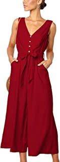 CLOUSPO Jumpsuits for Women Sleeveless Deep V Neck Button Palazzo Wide Leg Wrap Jumpsuit Rompers with Pockets