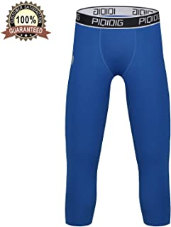 Youth Boys Compression Pants 3/4 Basketball Tights Sports Capris Leggings