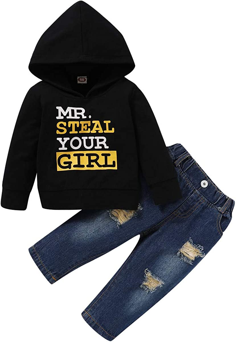 Toddler Baby Boy Mr Steal Your Girl Hoodie Tops Ripped Jeans Outfit Suit Clothes