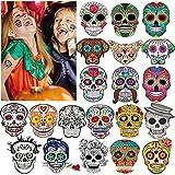 100x halloween Tatuajes Temporales Para Niños Niñas, halloween mascarada Día de los Muertos esqueleto cráneo tatuajes adhesivos para adultos niños infantiles Fiesta de Halloween regalo Bolsas Relleno