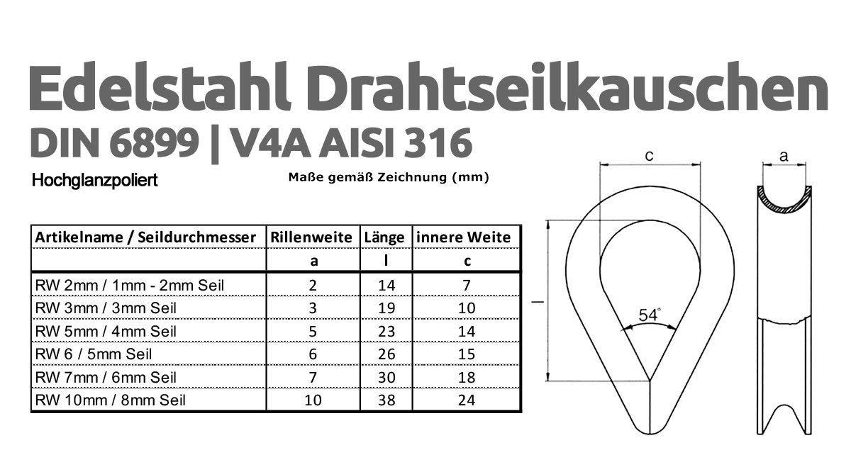 Drahtseile24 Edelstahlseil Set mit 6x Seilklemmen Spannsystem 2x Seilkauschen und 1x Seilspanner Edelstahl 1m /Ø2mm