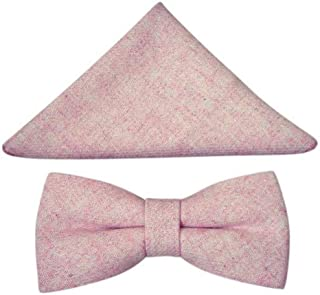 Vintage Pink Blush Tweed Bow Tie & Pocket Square Set