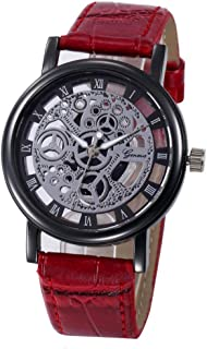 XILALU Women watch, unique Hollow Analog Quartz Stainless Steel Wrist Watch (Red)