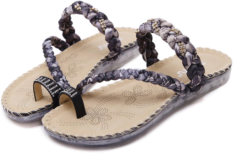Dreneco Women Bohemian Rhinestone Clip-Toe Sandals,Summer Flat shoes for Ladies