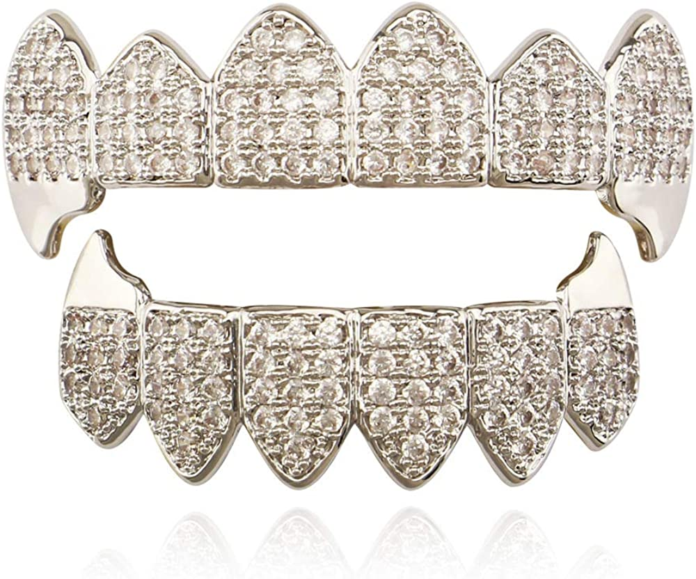 OOCC 18K Gold Plated Hip Hop Teeth Grillz Caps Iced Out CZ Top and Bottom Vampire Fangs Grillz with Diamonds for Your Teeth
